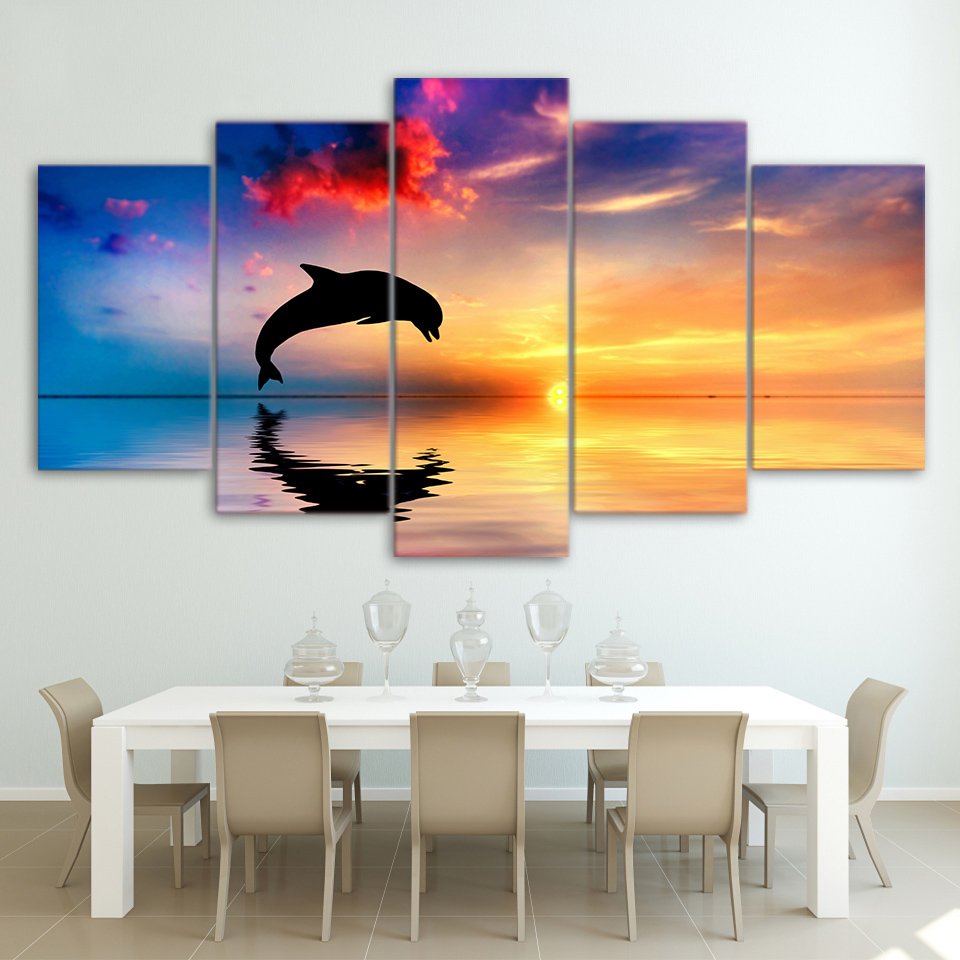 DOLPHINS SUNSET CANVAS PICTURE PRINT WALL ART HOME DECOR
