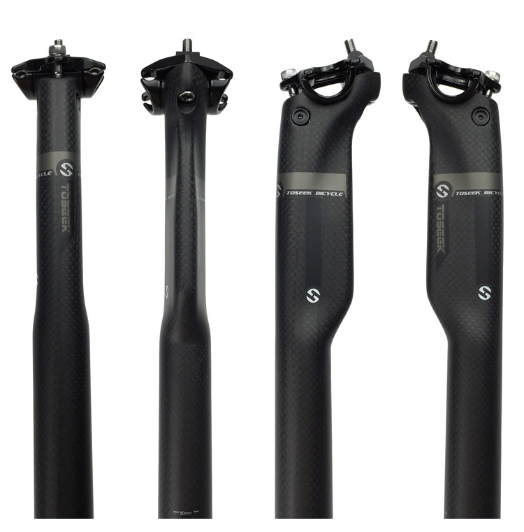 Nueva TOSEEK 3K Tija de sillín de fibra de carbono completa mate MTB Mountain Road Bike Cycling Seat Post Piezas de bicicleta 27.2 / 30.8 / 31.6 * 350 / 400MM