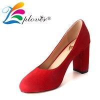 Zplover Women High Heel Pumps Red Thick Heel Pumps Sexy Round Toe Pump Wedding Shoes Spring