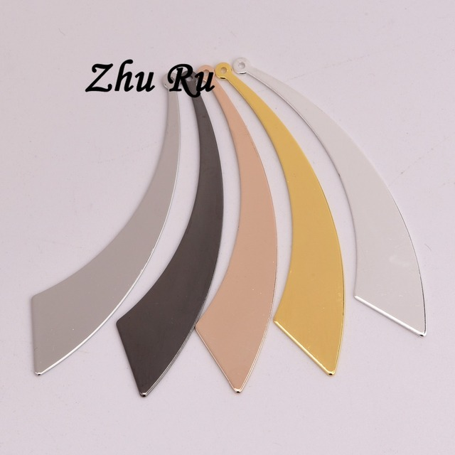 ZHU RU 10pcs/lot 61mm copper sector Arc is beautiful personalise Flying knife hidden device shape Charms For Diy Jewelry Making