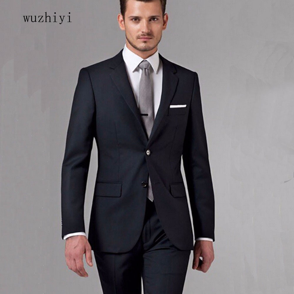 wuzhiyi Tailor Made Groom Suit WOOL Tuxedos For Men Black Business Men Suits Custom Made Men suit dress for wedding suit men