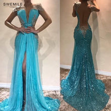 SWEMILE Sexy Sequins Lace Mermaid Evening Dress 2019 Charming Cap Sleeve Chiffon Party Dresses High Slit Prom Gowns