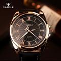 Yazole 2017 mens relojes de lujo superior de la marca del negocio del mens reloj hombre cuarzo reloj de pulsera de cuarzo del relogio reloj masculino de oro negro