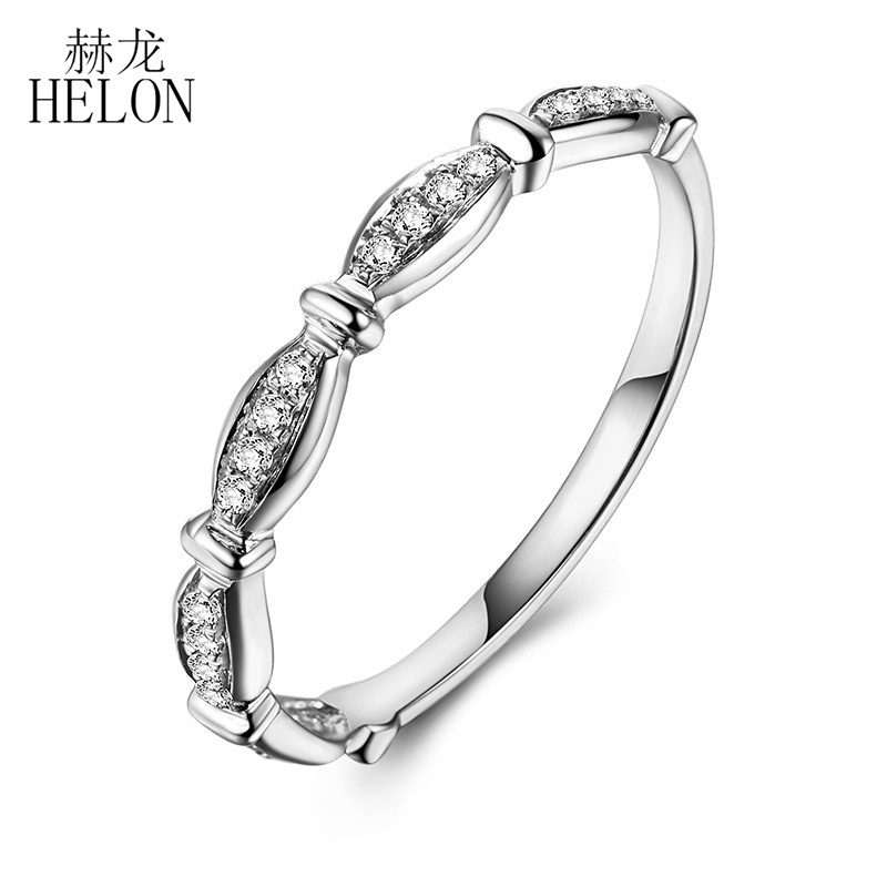 HELON Solid 14k White Gold Pave Natural Diamonds Jewelry Engagement Wedding Women Fine Band Anniversary Exquisite Diamonds Ring solid 14k white gold natural diamonds engagement wedding ring anniversary women band