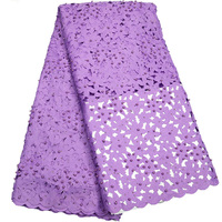 Luxury 2017 high quality laser cut African lace fabric lilac purple party dress lace fabric with lots of beads and stones ST575