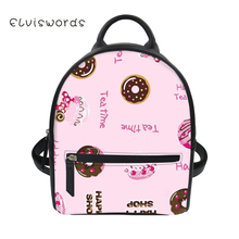 ELVISWORDS Cute Ladies Pu Leather Backpack For Women 3D Casual Small Daypacks Preppy Style Girls Travel Mochila Female