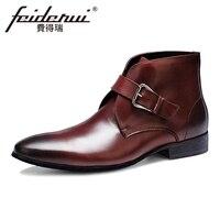 Artı Boyutu İtalyan Tasarımcı Hakiki Deri erkek Ayak Bileği Çizmeler Için Sivri Burun Toka El Yapımı Kovboy Resmi Elbise Ayakkabı Adam ASD61