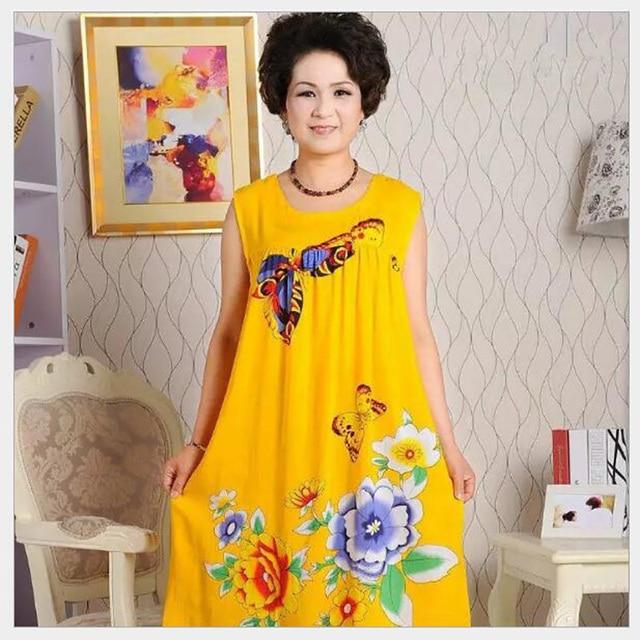 ... newest 9c119 76ded New Fashion Nightgown Womens 100% Cotton Sleepwear  Sleeveless Round Neck Knee- ... 30babf279