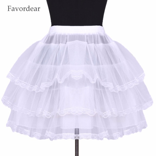 Favordear Wholesale White Black Puffy No Hoop 3 layers With Lace Edge For Short Ball Dresses Tulle Short Petticoat In Stock