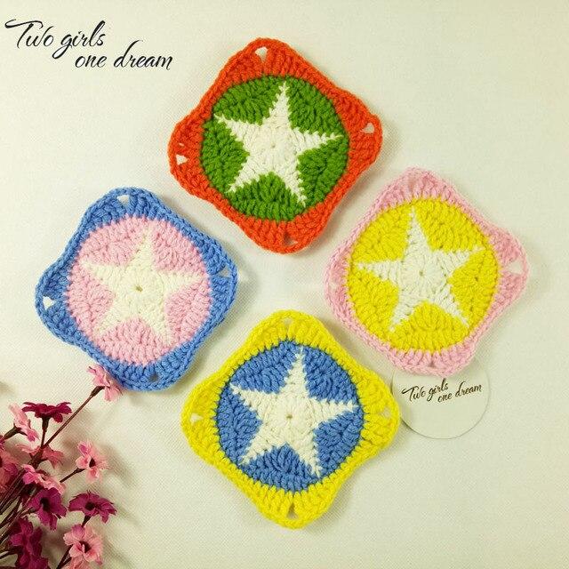 Diy Handmade Crochet Table Mats Star Hand Square Crochet Lace