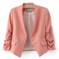 Autumn Women Blazer And Jackets Cardigan Short Design Puff Sleeves Slim Ladies Suit Basic Blazer Coat
