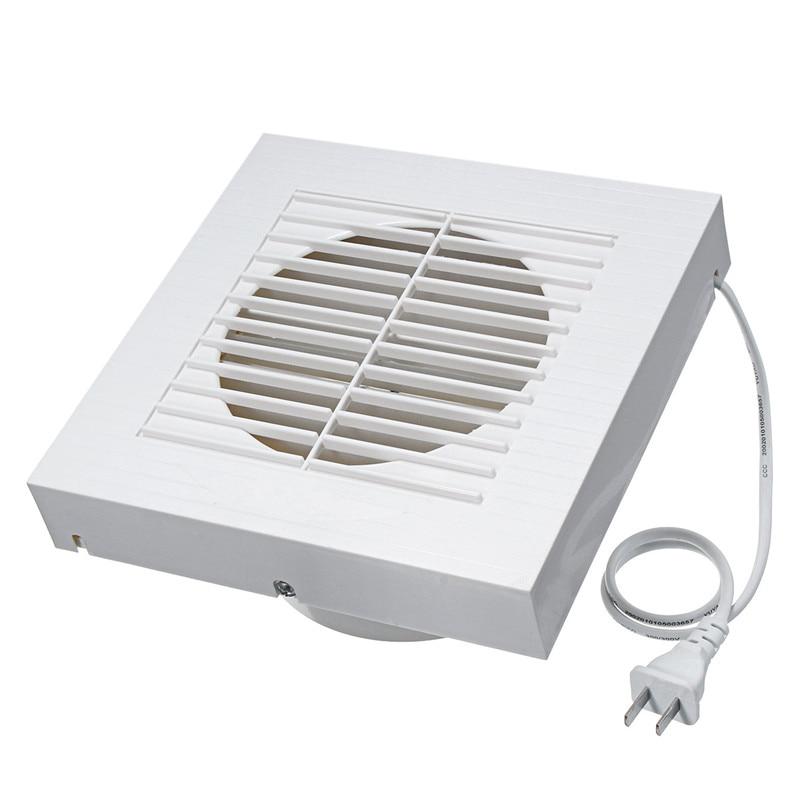 US Plug 6 Inch Mute Wall Extractor Exhaust Ventilation Fan Window Bathroom Kitchen Toilet Fan Hole Size 148x148mm 12W 220V