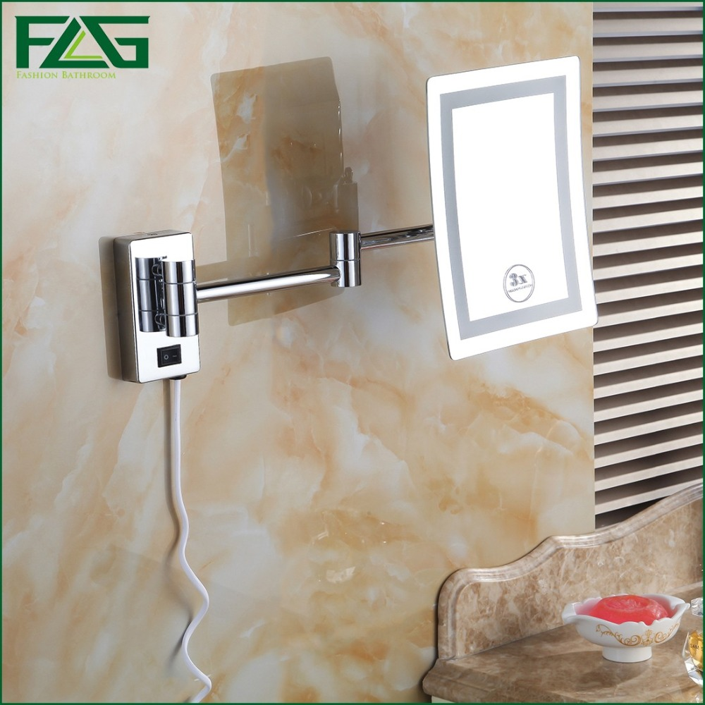 Wall mounted makeup mirror square 3x in wall mirrors - Flg Free Shipping Square Led Light Bath Mirrors 8 Dual Makeup Mirror 1x3x Magnifier Copper Cosmetic Bathroom Double Faced Jz009