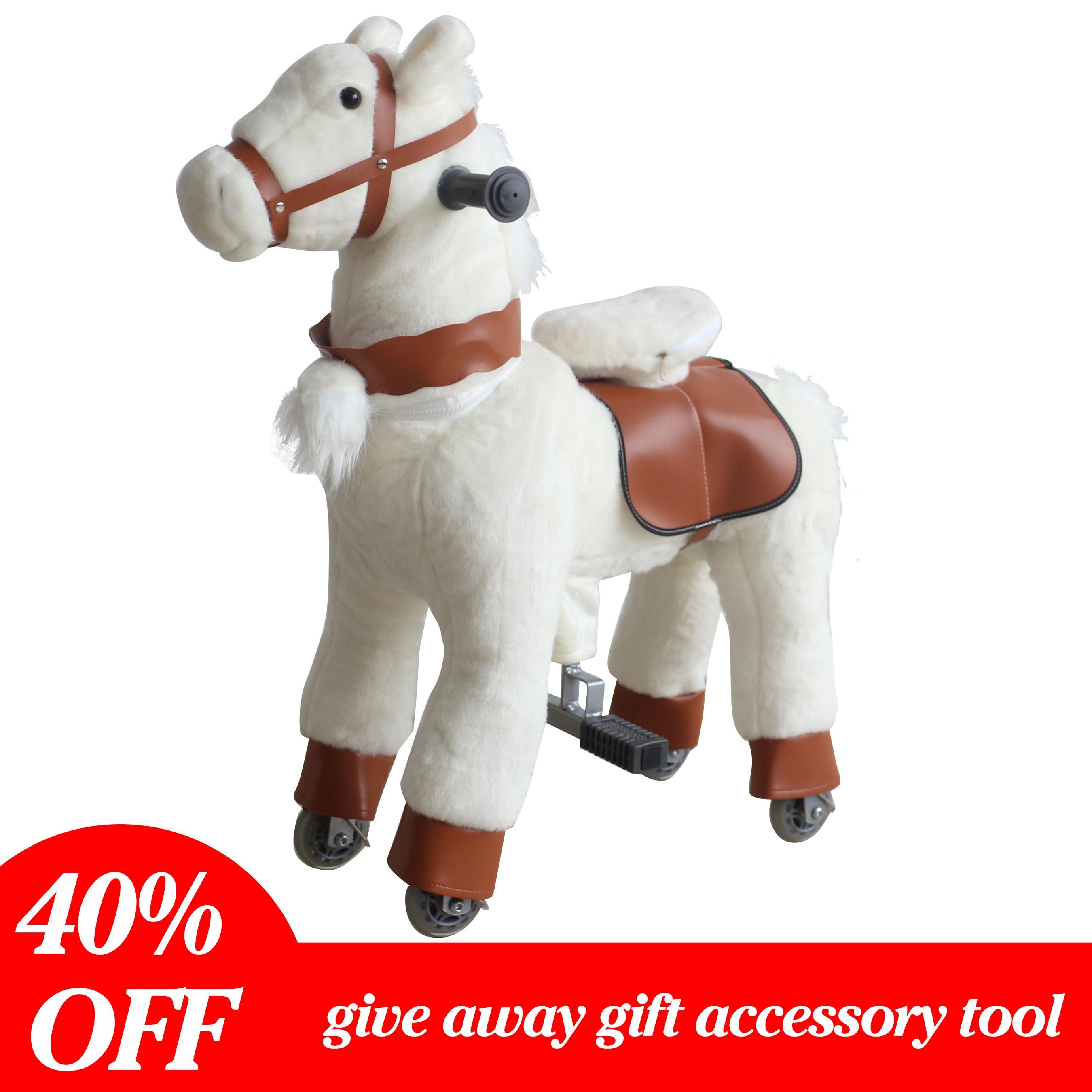Белые плюшевые игрушки для верховой езды на лошадях, маленькие пони с колесами, механические лошади, гоночная игра, детские подарки на день ...