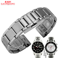 Laopijiangnew unisex 20mm plata venda de reloj de pulsera de acero inoxidable sólido gancho nuevo final para T91