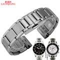 Laopijiangnew unisex 20mm prata pulseira relógio banda de aço inoxidável sólido nova hooked end para T91