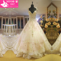 Lace Wedding Dress A Line Vintage Wedding Dresses Crystal Sparkle Wedding Gowns Vestido De Noiva Robe