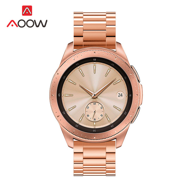 3 Pointer Stainless Steel Watchband 20mm 22mm for Samsung Galaxy Watch 42mm 46mm Rose Gold Metal Strap Band for SM-R800 SM-R180