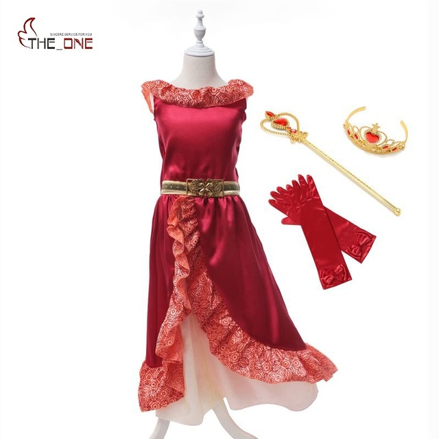 MUABABY Girl Fancy Dress Elena of Avalor Princess Costume Children Girl Elena Cosplay Clothes Kids Christmas Party Dancing Dress