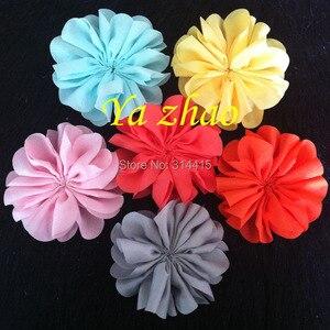 Image 1 - 3,2 дюймовые шифоновые цветы, DIY цветные цветы для головной повязки и аксессуары для волос, 60 шт./лот, бесплатная доставка