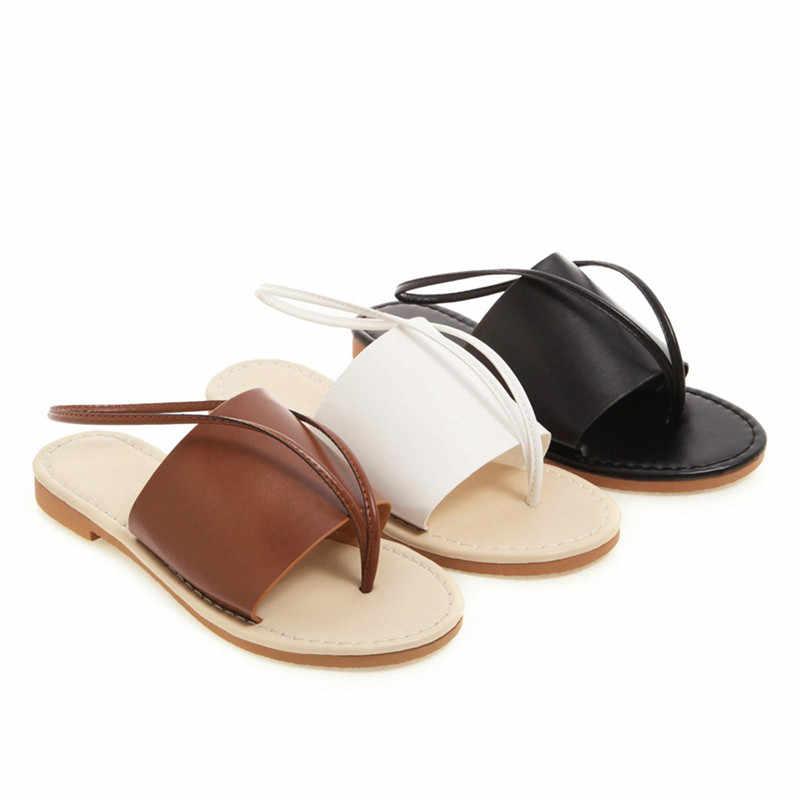 2019 verano Roma Zapatos Mujer Sandalias planas gladiador Playa Mujeres Zapatos Mujer suave Sandalias Zapatos Mujer talla grande 34- 43