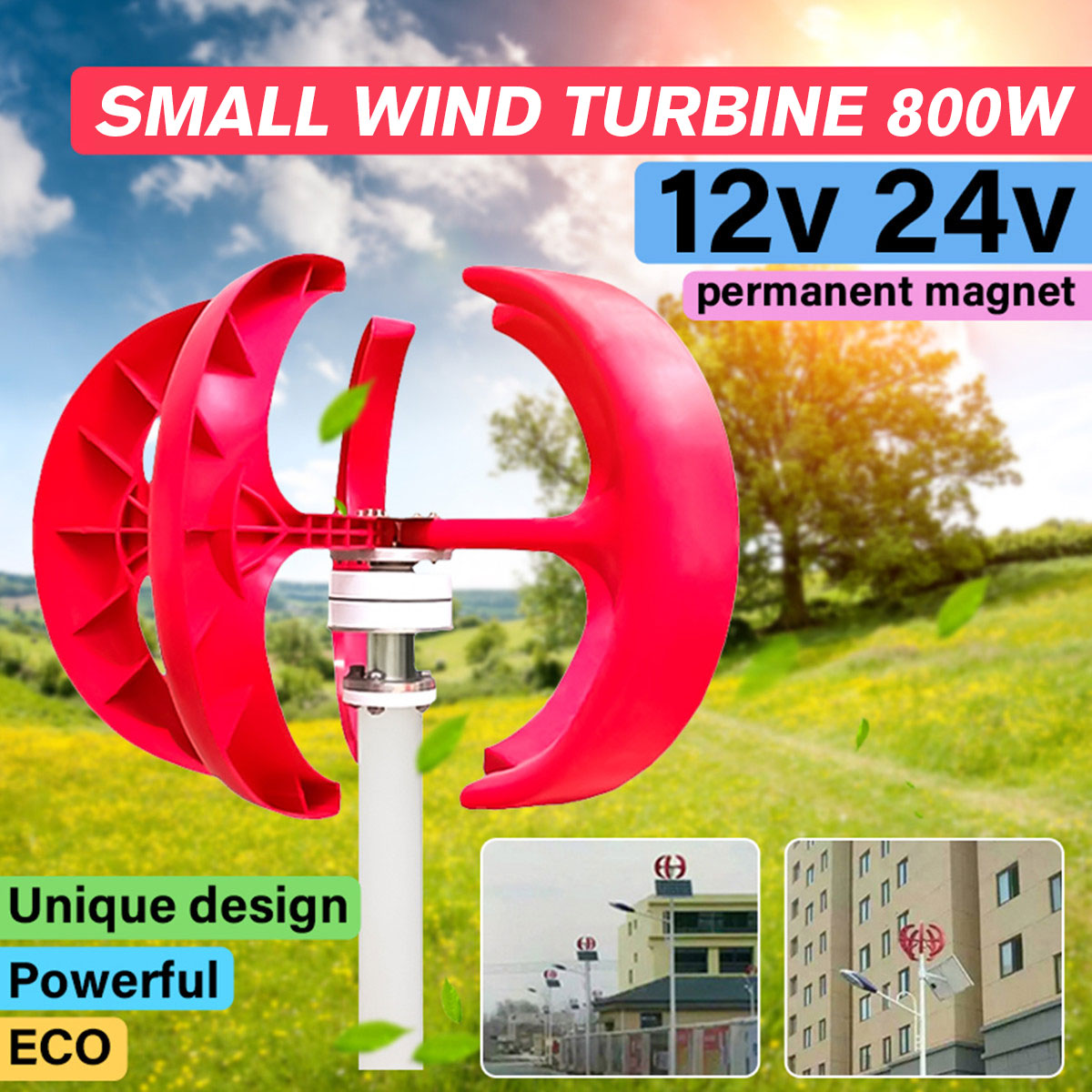 New Max 800W 12V/24V Wind Turbinen Generator Lantern 5 Blades Motor Kit Vertical Axis 3 Phase AC Permanent Magnet Generator Hot Турбина
