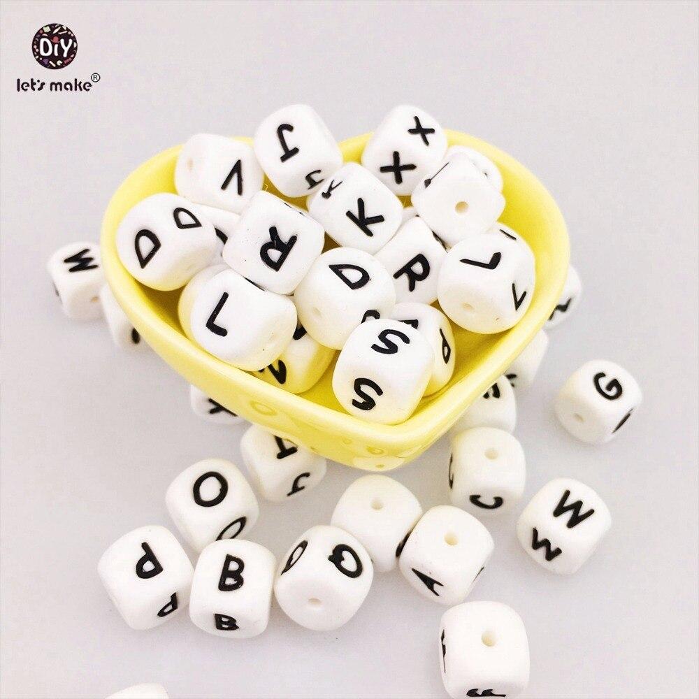 Prix pour Let's Faire 100 pc Alphabet Lettre de Qualité Alimentaire Silicone Chewing Perles Pour La Dentition Collier En 26 Lettres Silicone Lettre perles