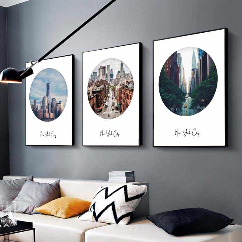 Moderne New York Landschap Poster Print Cirkel Fotografie Art Canvas Schilderij Woonkamer Decoratieve Foto Home Decor