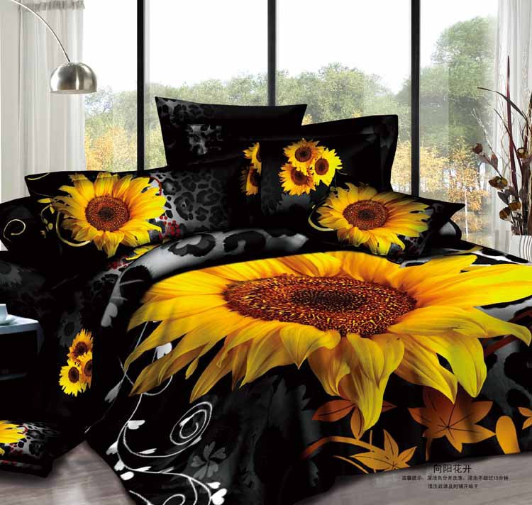 3d Black Sunflower Leopard Print Floral Bedding Set Sets