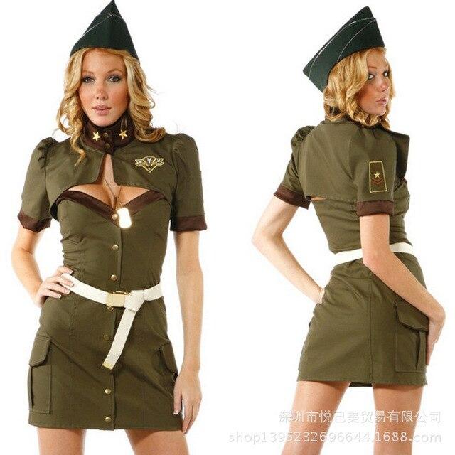 Сексуальные костюмы на Хэллоуин для женщин зеленые женские военные костюмы  моряки Ролевые сексуальные униформы Бесплатная доставка 7b9d1bbaf39