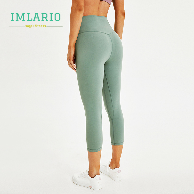48425a1d4b17db Imlario Essential Workout Crop Pants High Waist Women Cottony Soft Sports  Fitness Capri Stretch Yoga Tights