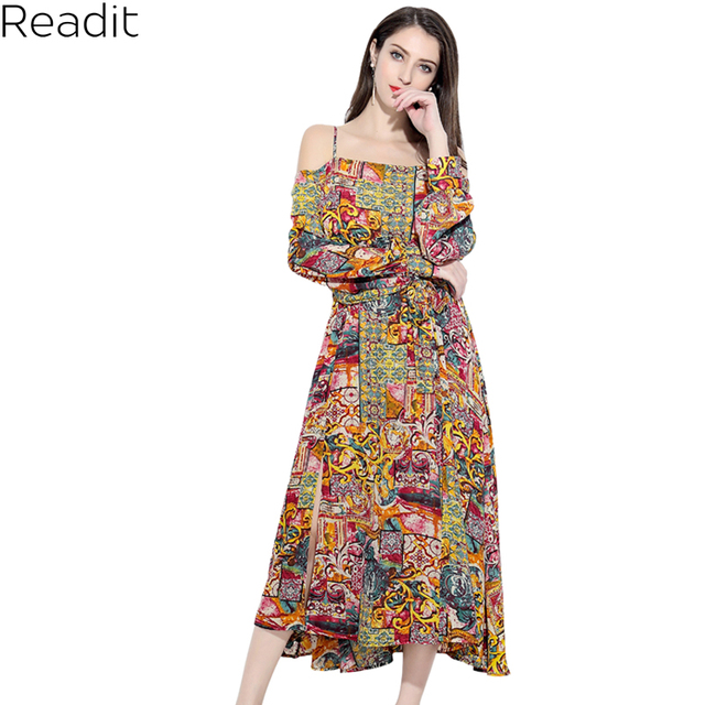 8a156223c Readit Cold Shoulder Dresses Floral Printed Dress Summer Shirt Dress Women  Off Shoulder 2018 Long Sleeve Side Split Dress D2886