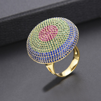 GODKI 31mm Luxury Multicolor CZ Rings Female Dubai Gold Ring Knuckle Rings For Women Wedding Party Jewelry Bagues Anillos 2018