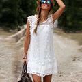 40 9860 Women Summer Mini Dresses Loose Dress White Women Clothing Hollow Out Lace Patchwork Tassels Vestidos Robe Courte Femme