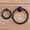 Modern simple black drop rings drawer cabinet knobs pulls matte black dresser door handles shaky rings knobs