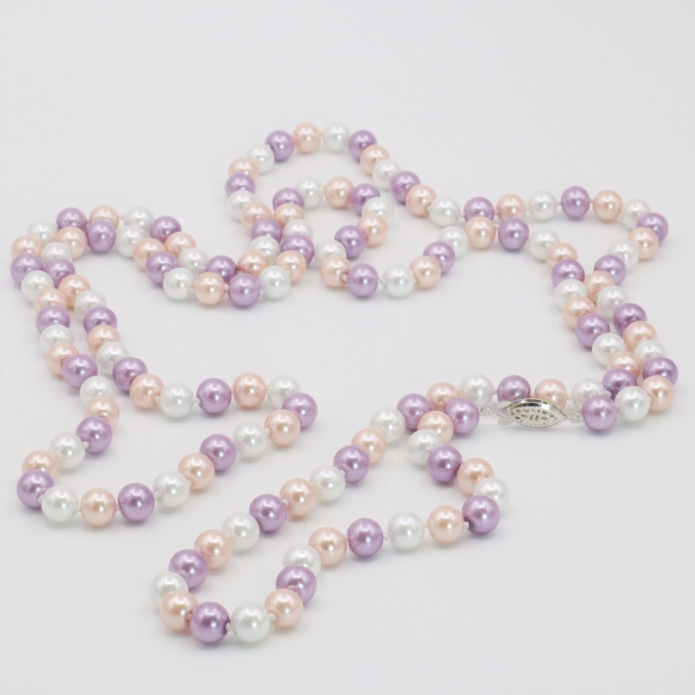 New Noble All-match Woman Multicolor Round 8mm White Pink Purple Shell Long Necklace Chain Gift for Girl Women Wholesale 50inch