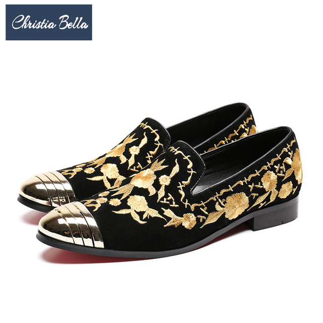 Christia Bella Gold Embroidery Men Loafers Suede Wedding Party Loafers  Formal Dress Shoes Smoking Slippers Men Flats Plus Size 37850a7c2810
