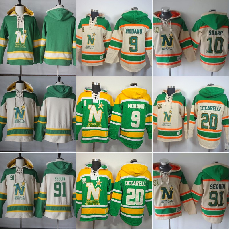 9 Mike Modano Minnesota North Stars Hoodie 91 Seguin 10 Sharp 14 Benn 15 Nemeth 38 Fiddler Stitched Hockey Hoodie Free Shipping