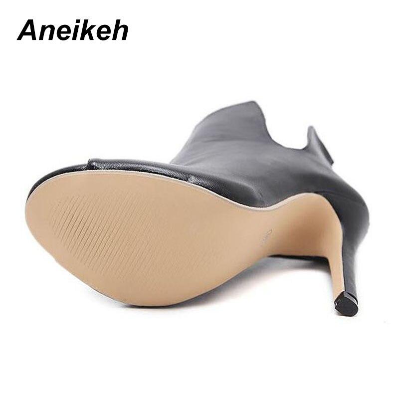 Aneikeh Новый Дизайн женские ботинки «Челси» черный с открытым носком обувь  на высоком каблуке Демисезонный женские ботильоны Размеры размеры 35–40  938-119 ... c638b0306fa