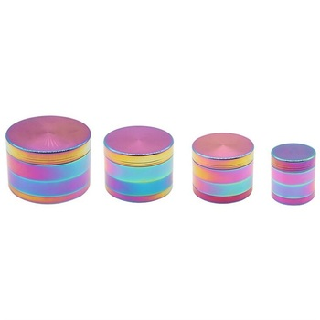 Rainbow Color Tobacco Grinder Zinc Alloy Smoke Grinders Diameter 40mm 50mm 55mm 63mm 4-layer Herb Grinder Smoking Accessories