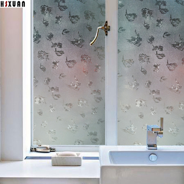 Window Privacy Film Waterproof Cellophane 45x100cm Frosted Floral Bathroom  Decorative Glass Window Stickers Hsxuan Brand 450612