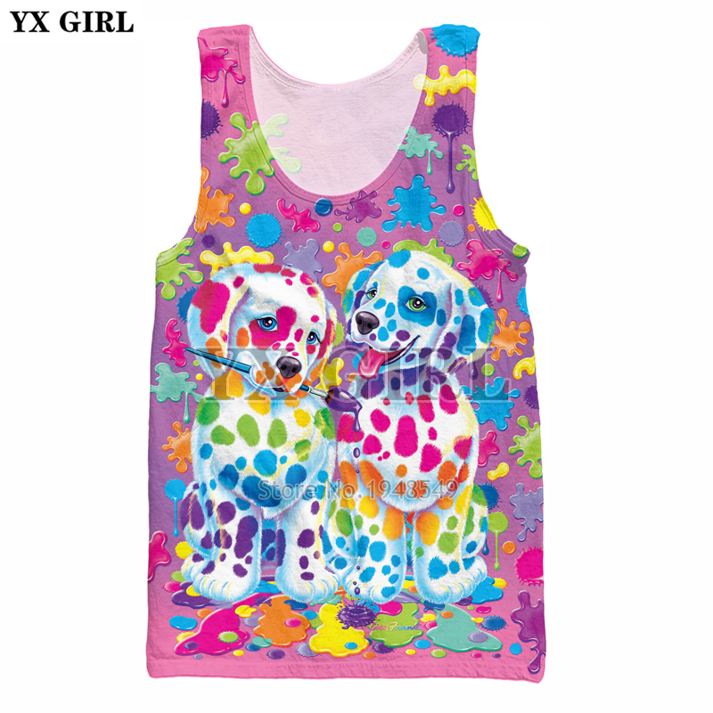 YX GIRL 2018 summer new style Cool vest Fashion Mens 3d Vest Cute animal Lisa Frank Print Unisex Casual   Tank     tops