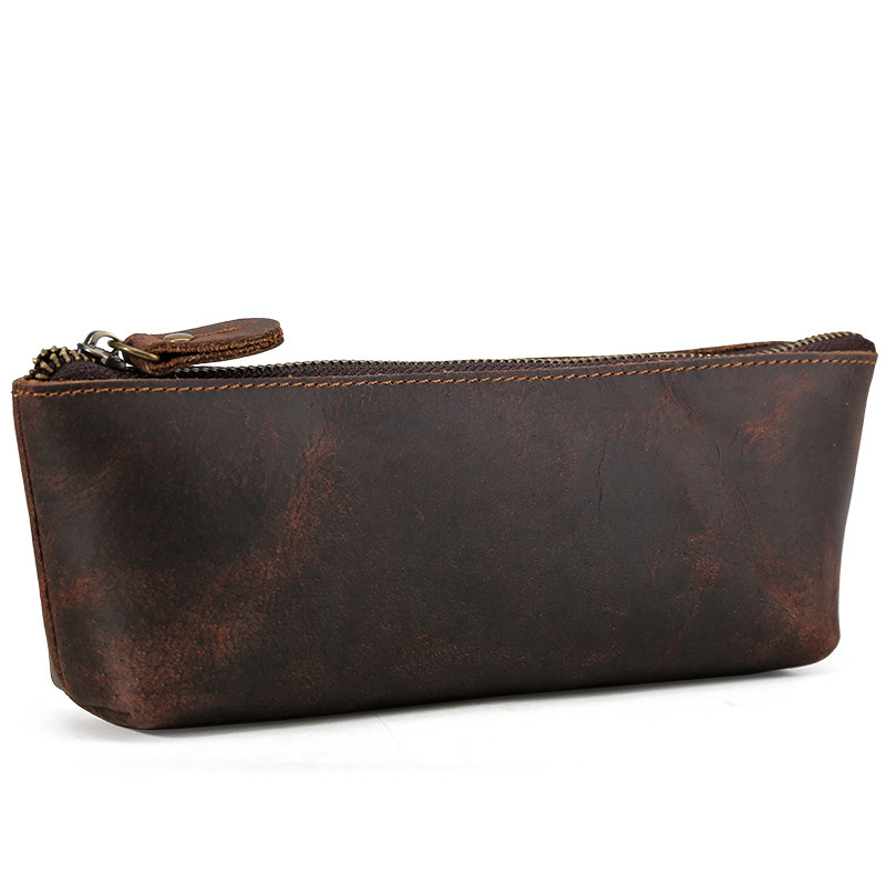 Genuine Leather School Pencil Case Vintage Mini Multi Large Penal Pencilcase Make Up Big Pen Bag For Girls Boys Stationery Pouch