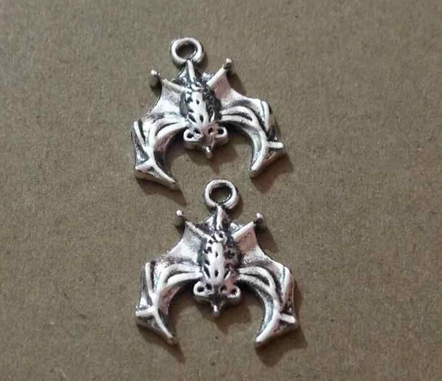 10 pcs Argento Antico Placcato Bat Pendente di Fascino per la Collana Del Braccialetto Accessori Dei Monili Che Fanno A Mano FAI DA TE 20*17mm