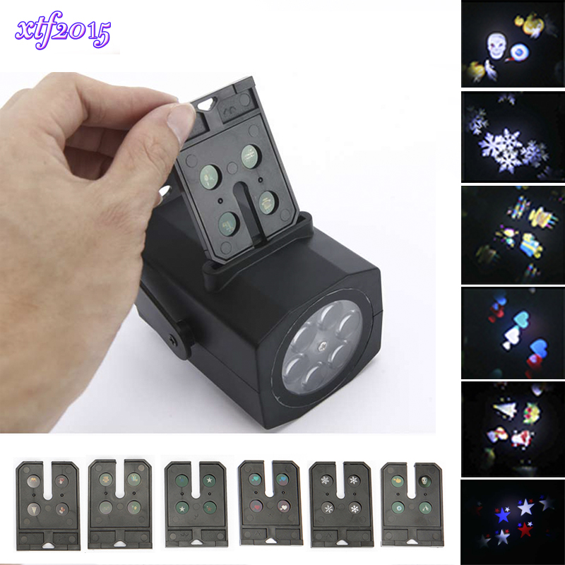 xtf2015 LED Laser Christmas Halloween Lights 6pcs Patterns Snowflake Projector Indoor Lamp for DJ KTV Bar Mall Birthday Party rg mini 3 lens 24 patterns led laser projector stage lighting effect 3w blue for dj disco party club laser