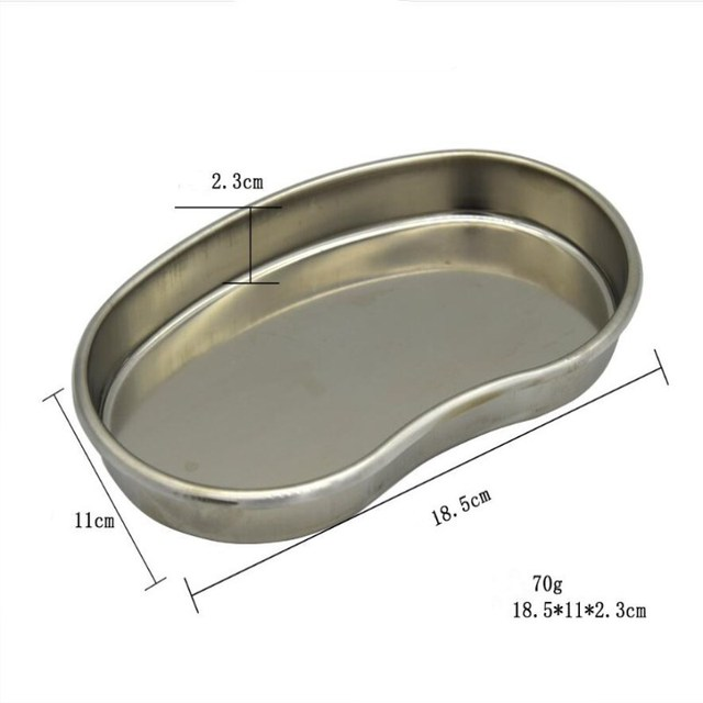 S Size Silver Stainless Steel Tattoo Tray Surgical Disinfection Bending Plate For Makeup Eyebrow Lip Tattoo Sterilization  Tools