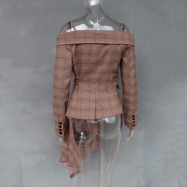 Plaid Blazer Irregular Women Jacket Coat 2018 Autumn Fashion 5