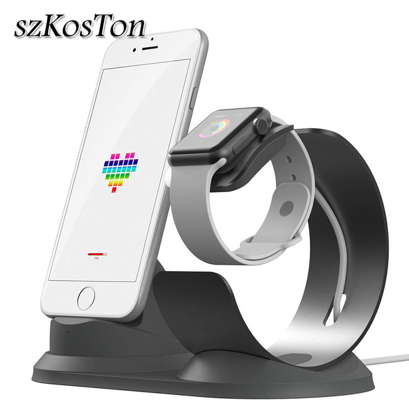 a0e7a189a85 Nuevo cargador Dock Holder para iPhone X iPhone Xs XR 8 7 6 Plus de  aluminio de carga Estación de muelle de soporte para apple watch 1, 2, 3, 4  Bases