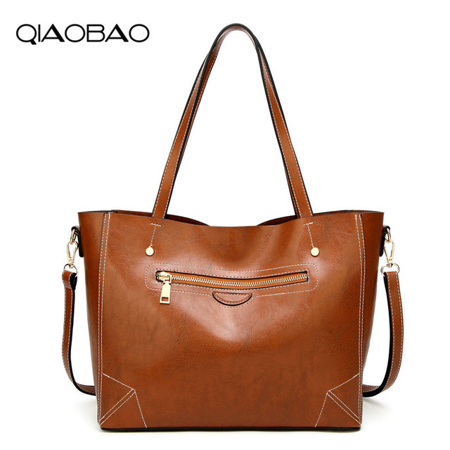 QIAOBAO Brand Design Quality Leather Handbag Luxury High Quality Women Bags  High capacity Totes Bag Zipper f258f884a5