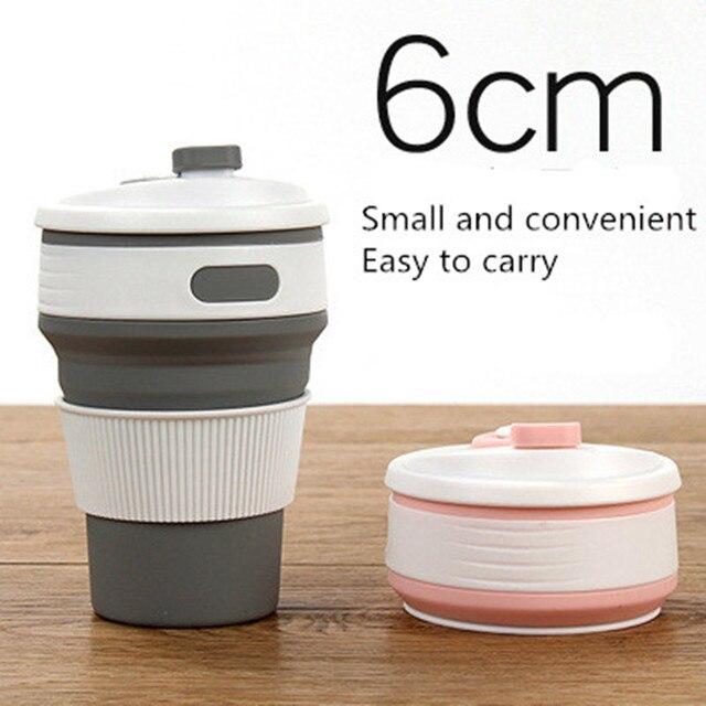 400 ml dobrável tampa do copo de silicone dust-livre xícara de café ao ar livre, pode manter uma telescópica e o uso repetido de copos de viagens.
